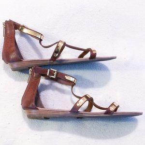 Madden Girl Cognac and Gold Gladiator Sandal 8.5